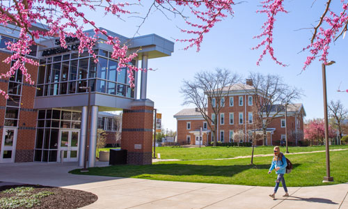 Student walking on campus in spring